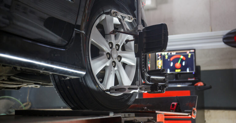 Vehicle Getting a Wheel Alignment