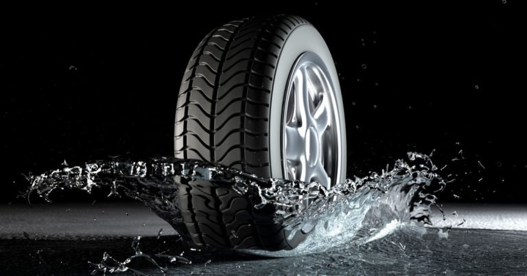 hydroplaning tire